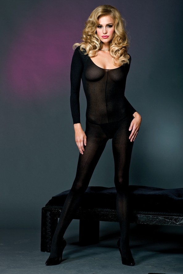 Long sleeve scoop neck opaque bodystocking 1774 Edmonton