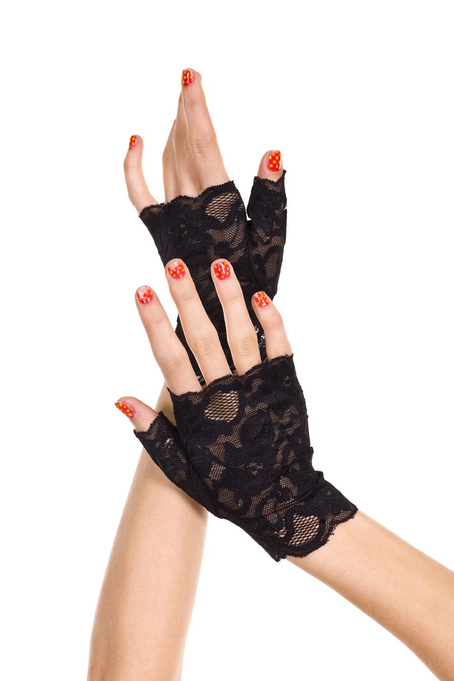 Black Fingerless Lace Gloves Wrist Length 0416 Edmonton