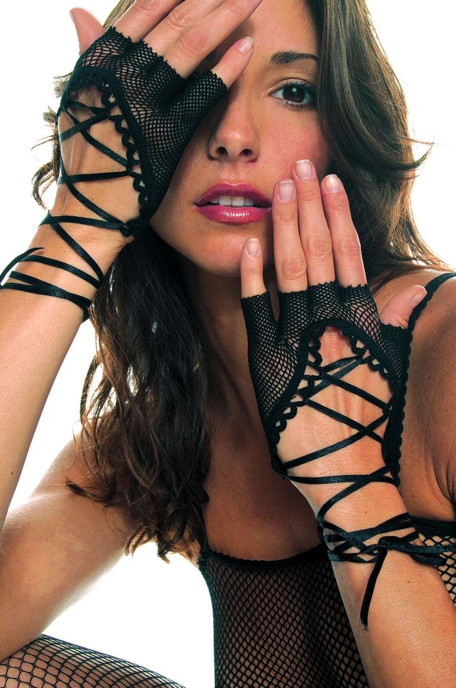 Black Wrist Length Lace Up Gloves Fishnet Fingerless 0413 Edmonton