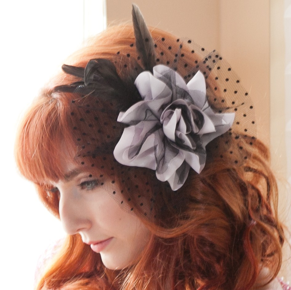 Satin and tulle flower dotted mesh feather accent hairpiece 5209 Edmonton