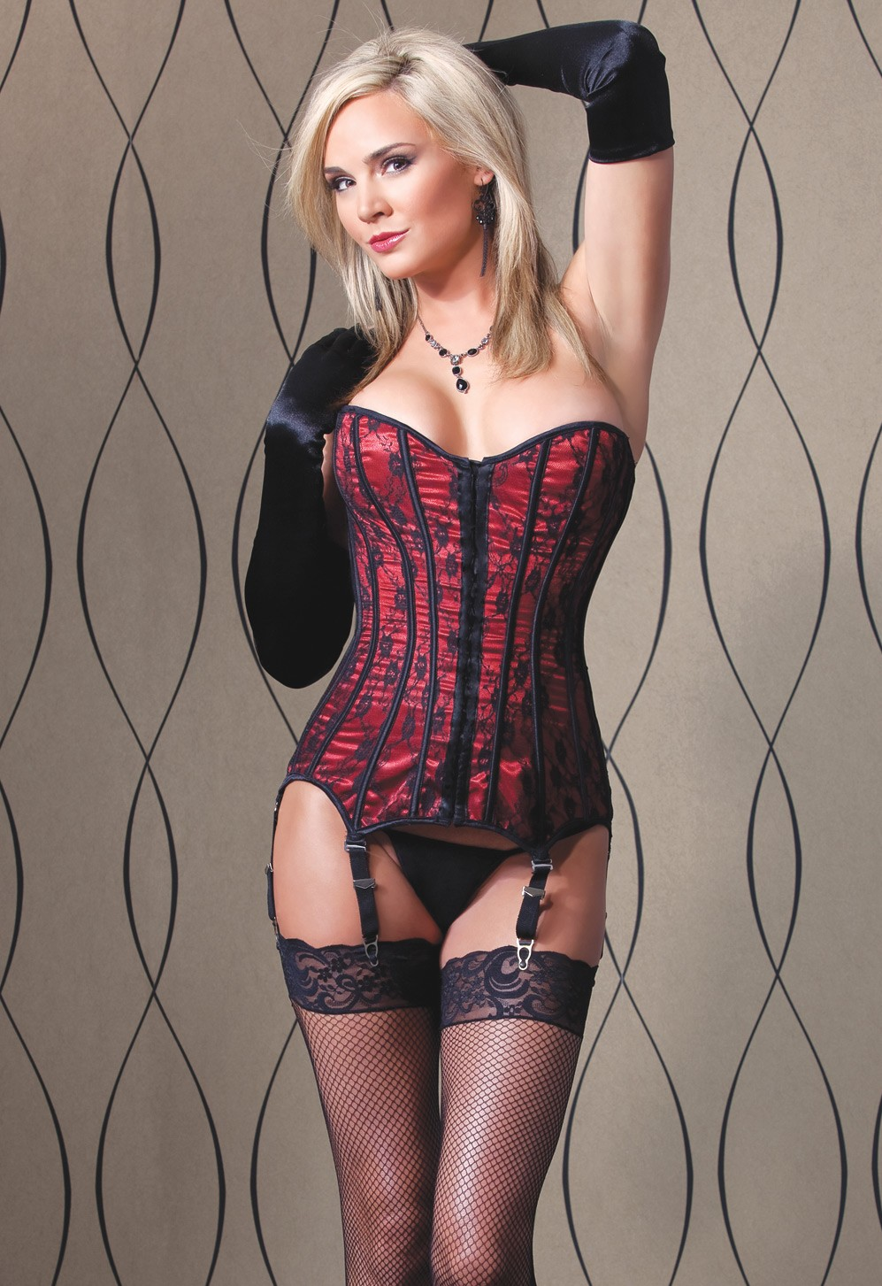 Red satin corset black lace overlay 1057 Edmonton