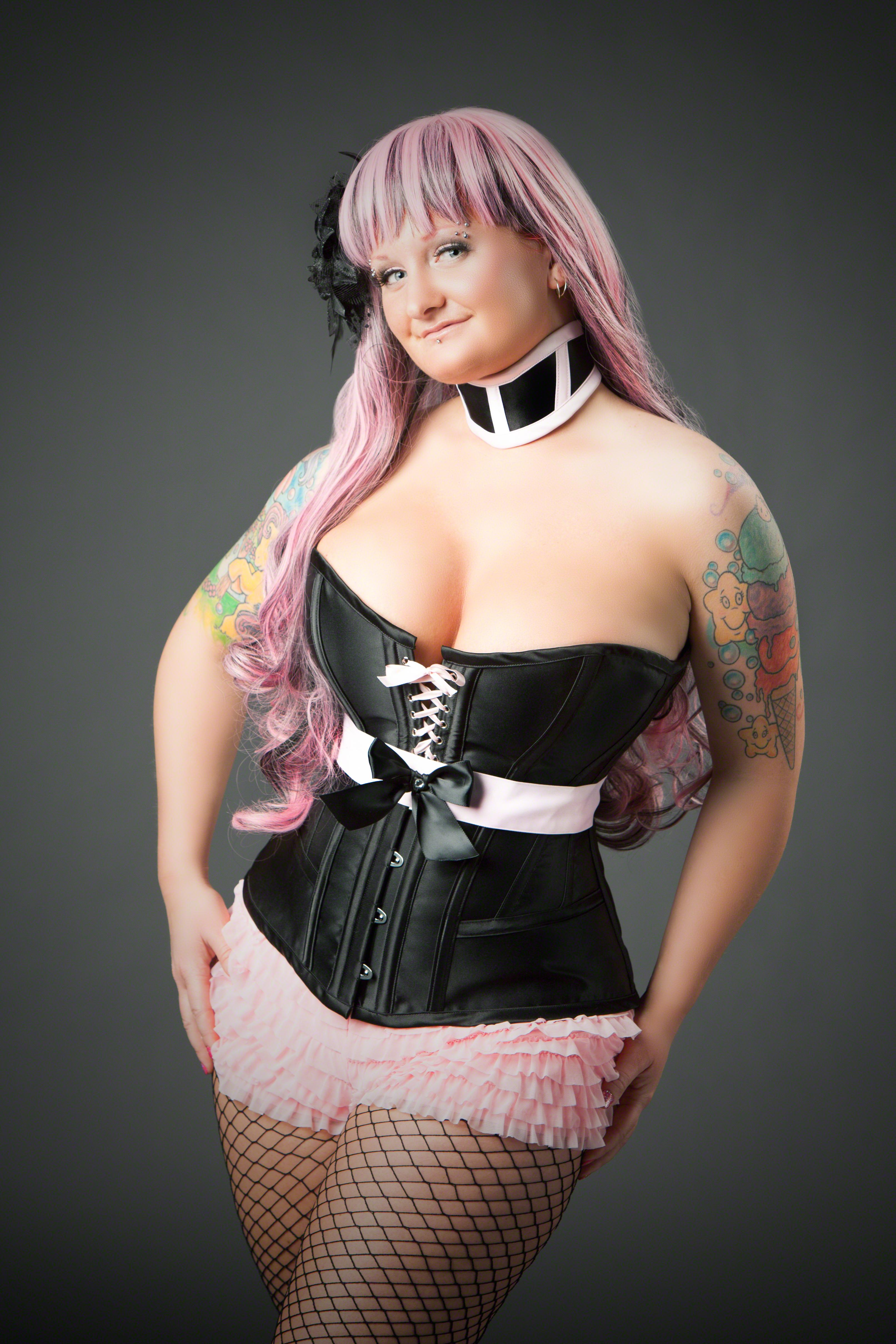 Pink Satin Corset Belt Crystal Detail Lace Up Back 0111 Edmonton