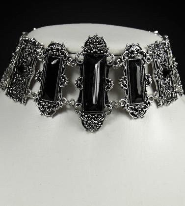 Black gems pewter frames choker 4109 Edmonton