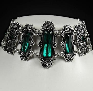 Three green gems pewter framing gothic choker 4109 Edmonton
