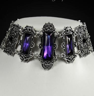 Purple gems pewter framing gothic choker victorian 4109 Edmonton