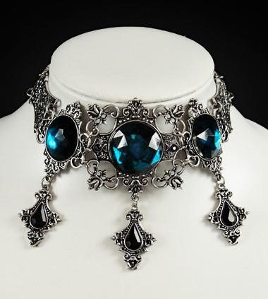 Turquoise gems pewter framed gothic necklace Victorian choker 4110 Edmonton