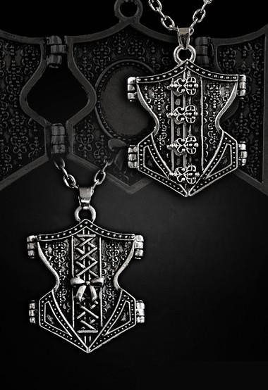 Pewter underbust-shaped locket pendent necklace 4102 Edmonton