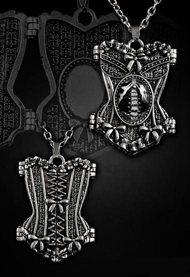 Corset-shaped locket pendent necklace Pewter skeleton graphic 4103 Edmonton