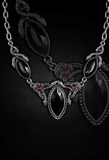 Pewter snake necklace black and red gems 4106 Edmonton