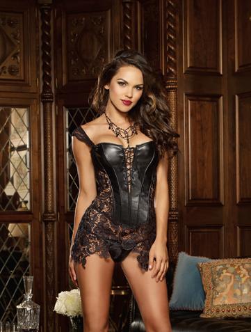 Black super sexy faux leatherand lace corset lace-up front 9367 Edmonton