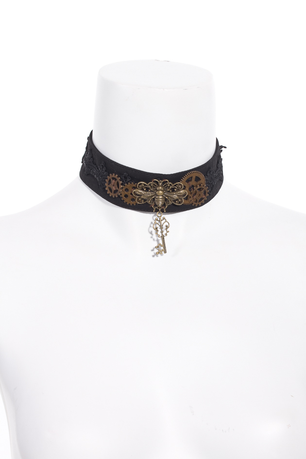 Black choker with lace trim features gears and key charm 0400 Edmonton
