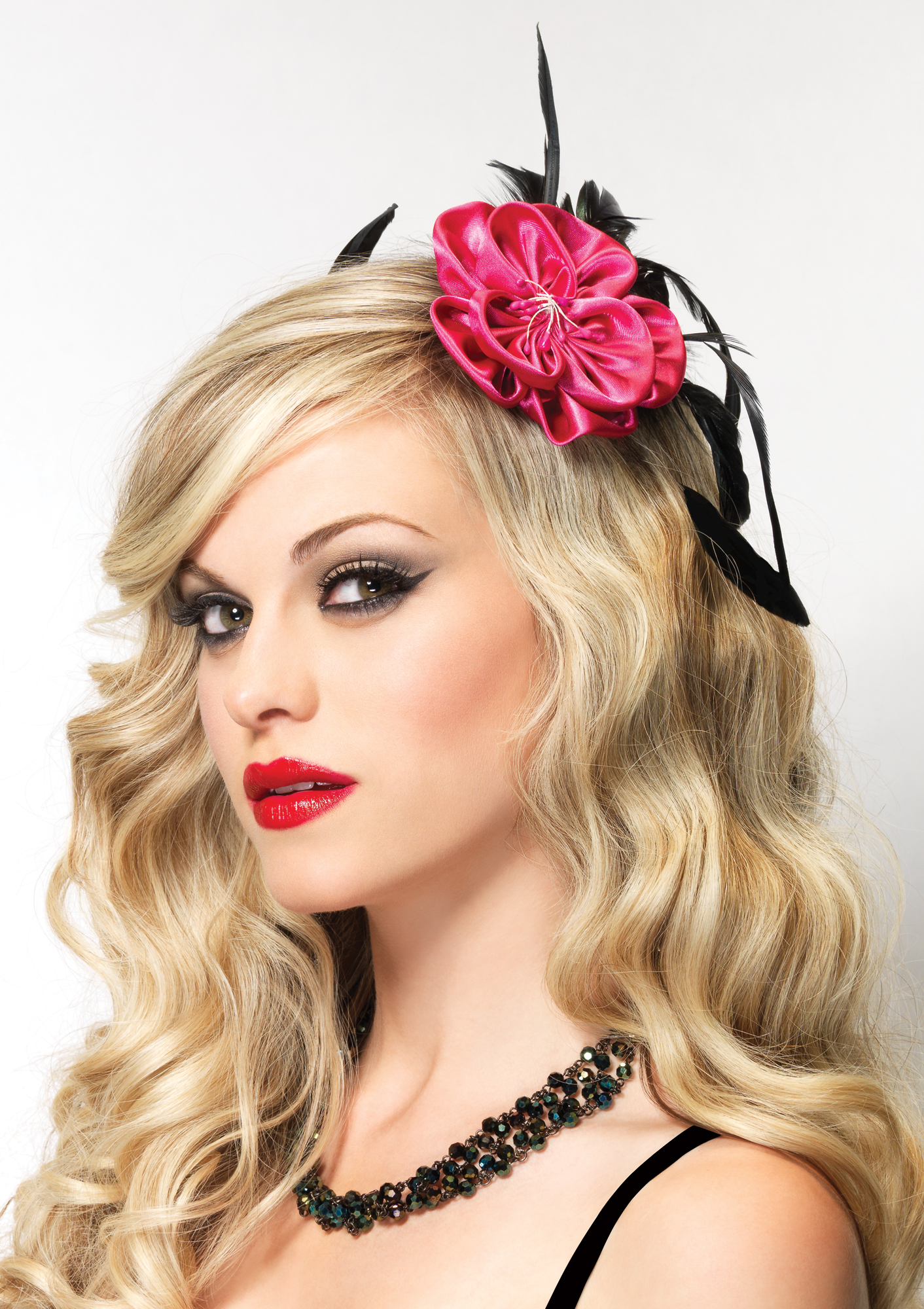 Hot pink blossom fascinator feather accent 1680 Edmonton