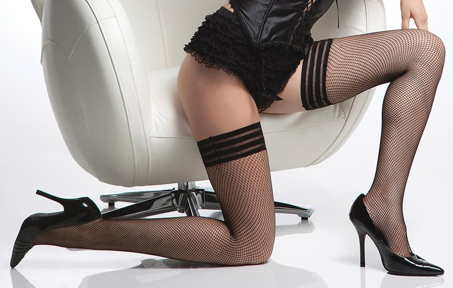 Fishnet thigh high stockings tripple elastic top 1733 Edmonton