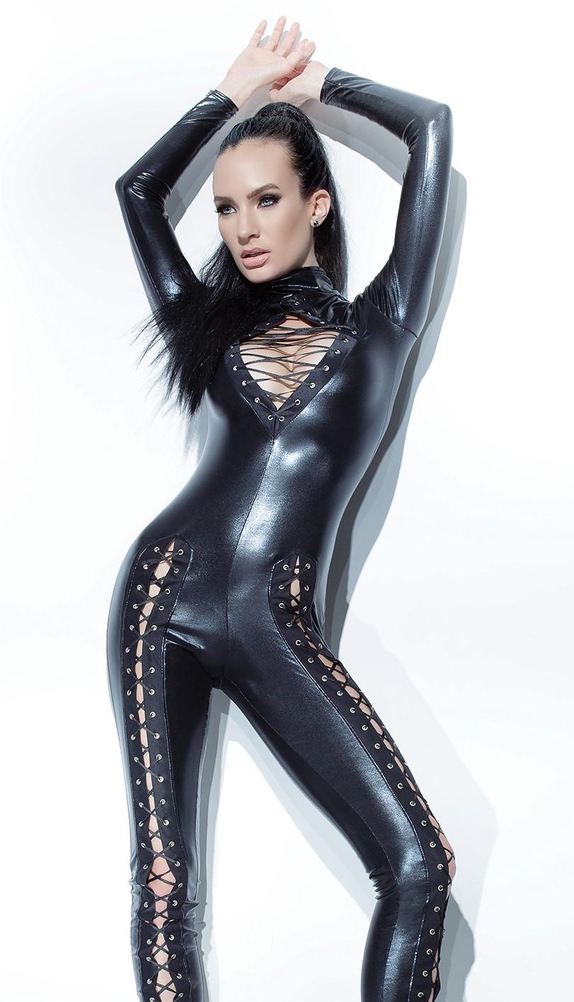 wet look catsuit lace-up chest legs 9312 Edmonton