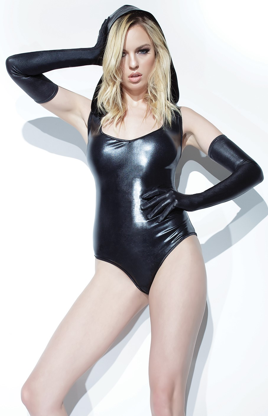 Hooded wet look bodysuit 9323 Edmonton