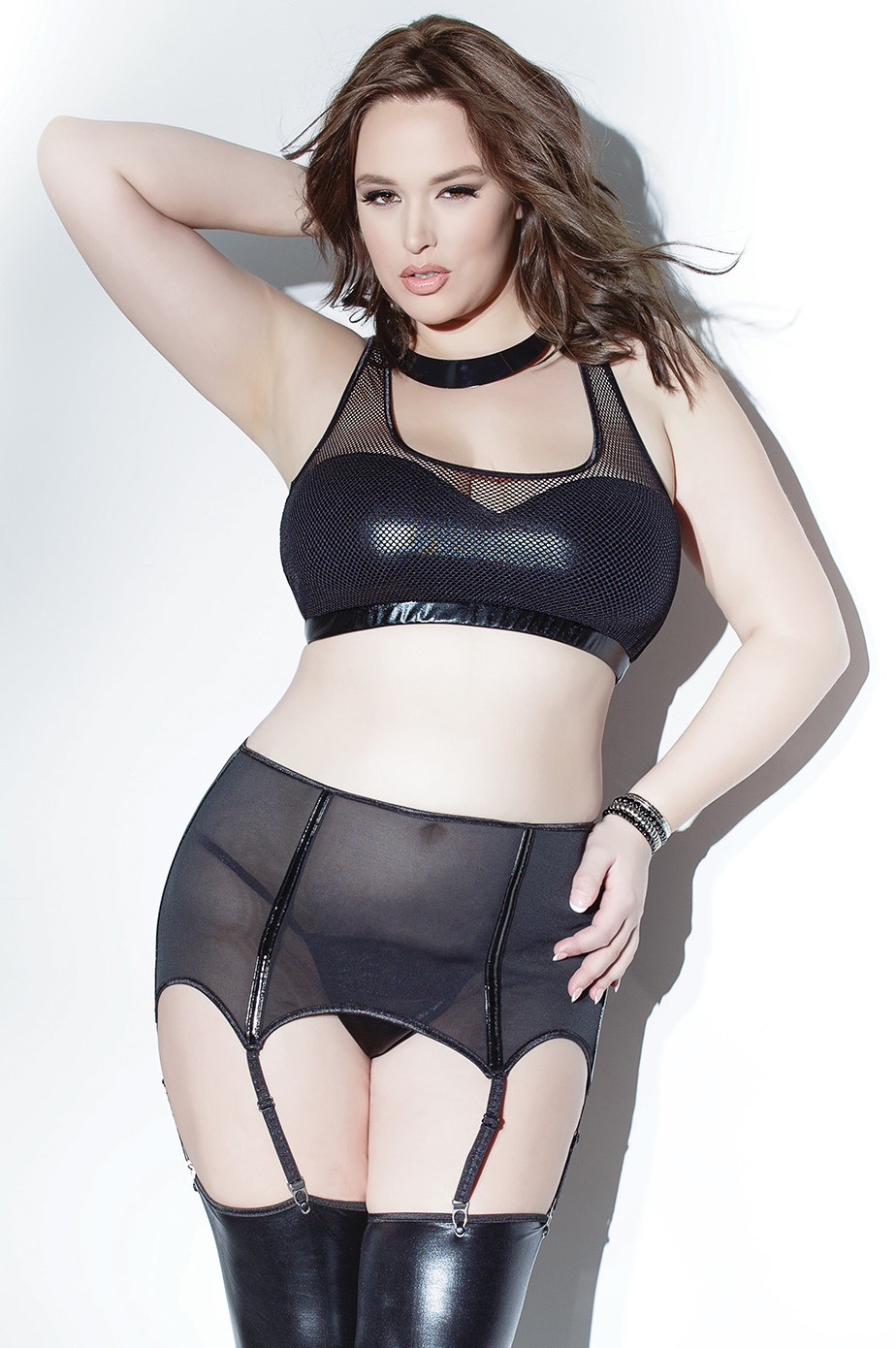 High waisted powernet garter belt 9331 Edmonton
