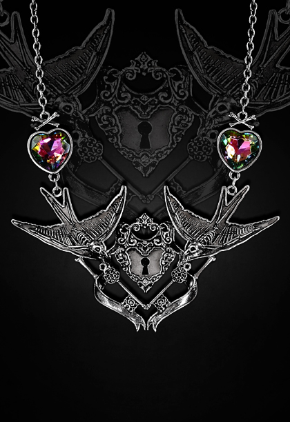 Spooky skeleton swallows necklace keyhole center 4114 Edmonton
