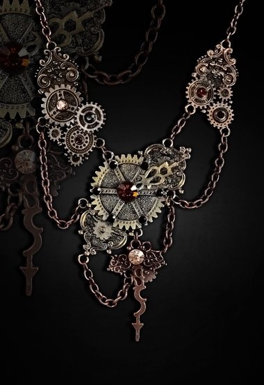 steampunk necklace gears chains clockwork arms 4116 Edmonton