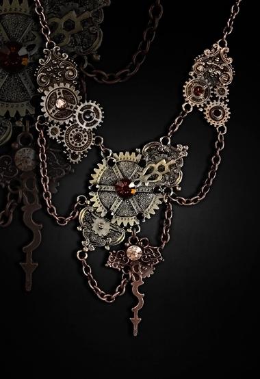 steampunk necklace gears chains clockwork arms 4116 Edmonton
