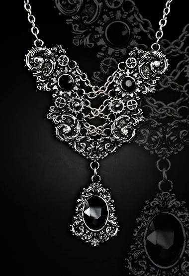 Elegant necklace faux corset lacing black gems gothic style 4118 Edmonton