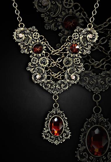 Elegant necklace amber gems faux corset lacing gothic style 4119 Edmonton