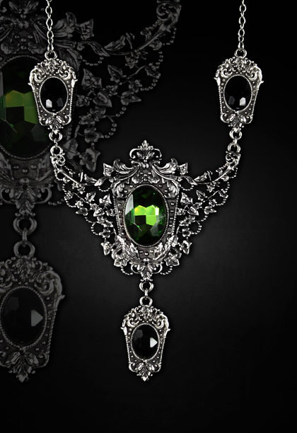 Pewter necklace green gems victorian style gothic necklace 4421 Edmonton