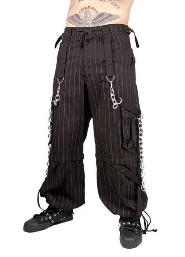 Black & white pinstripe pants hanging chain detail 7209 Edmonton