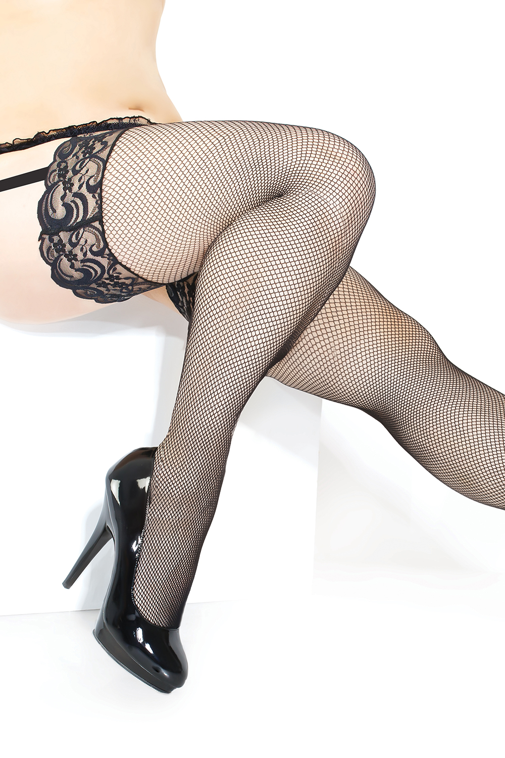Classic fishnet thigh high stockings lace top 1898 Edmonton