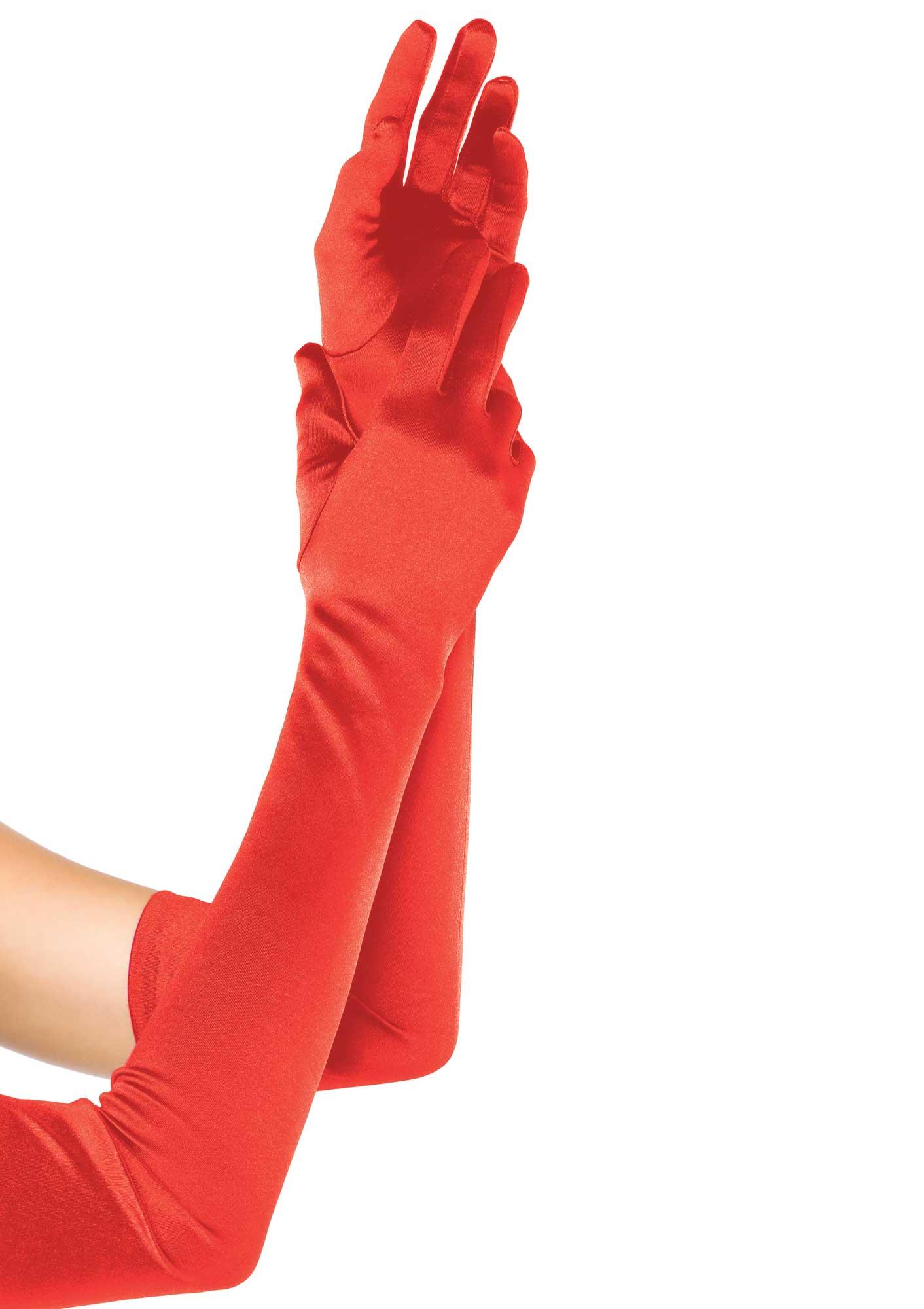 Red Satin Opera Length Gloves 0016 Edmonton