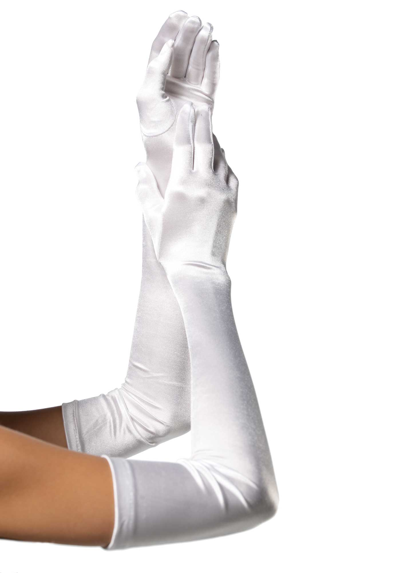 White Satin Opera Length Gloves 0016 Edmonton