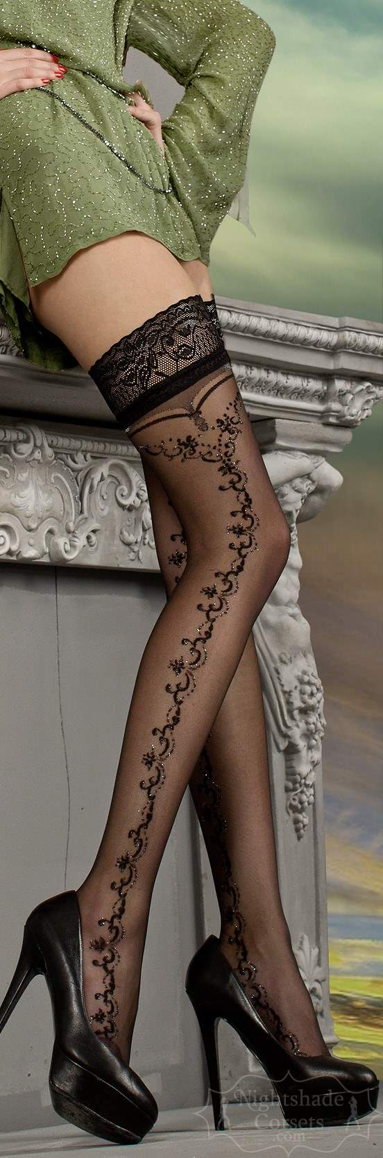 European-made stay-up stockings black design silver detailing 0216 Edmonton