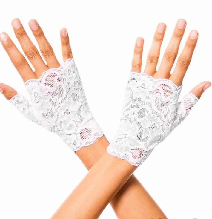 White Fingerless Lace Gloves Wrist Length 0416 Edmonton