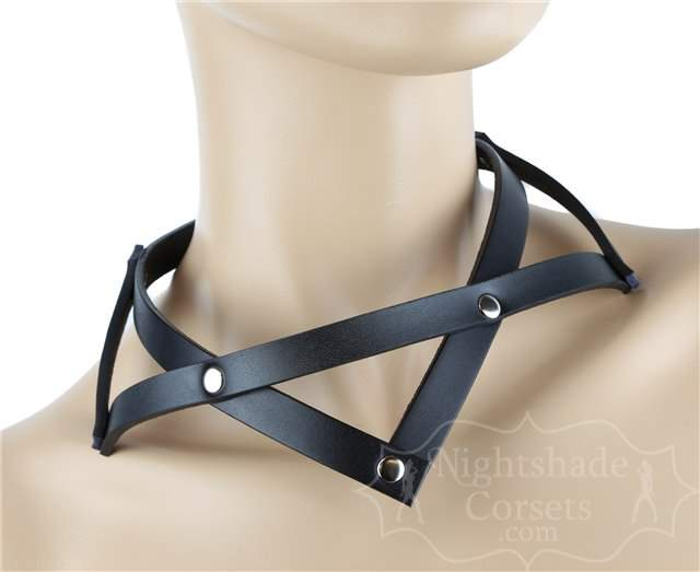 Black Leather Pointed Collar Rivets 0212 Edmonton