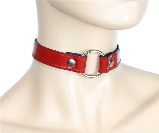 Red Patent Silver O-Ring Collar 0169rp Edmonton