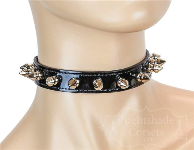 Single Row Spike Collar Black Patent 0134bp Edmonton