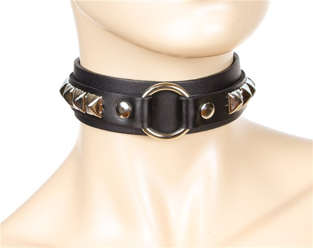 Black Studded O-Ring Collar 0263s Edmonton