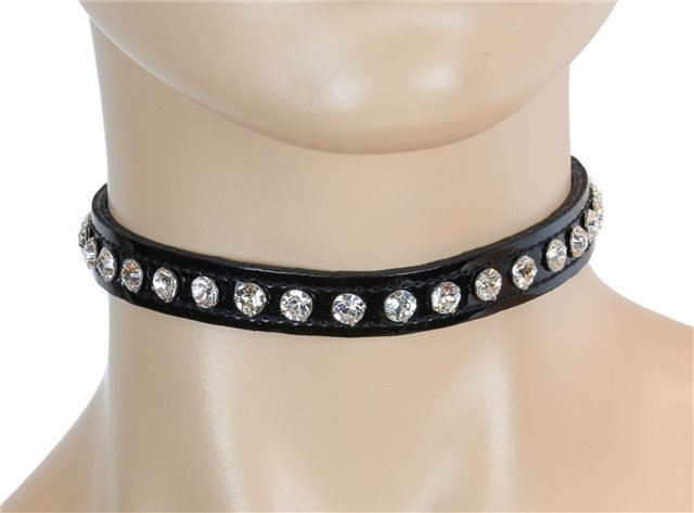 Blacl Patent Collar Clear Rhinestones 0247pc Edmonton