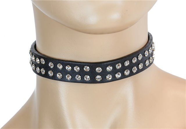 Double Row Rhinestones Collar Black Patent2480 Edmonton