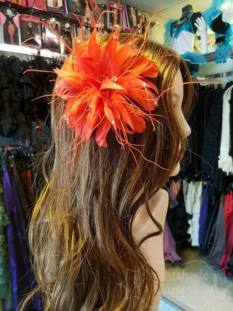Red Feather Hairpiece Rhinestone centerpiece Hair Flower 16002 Edmonton