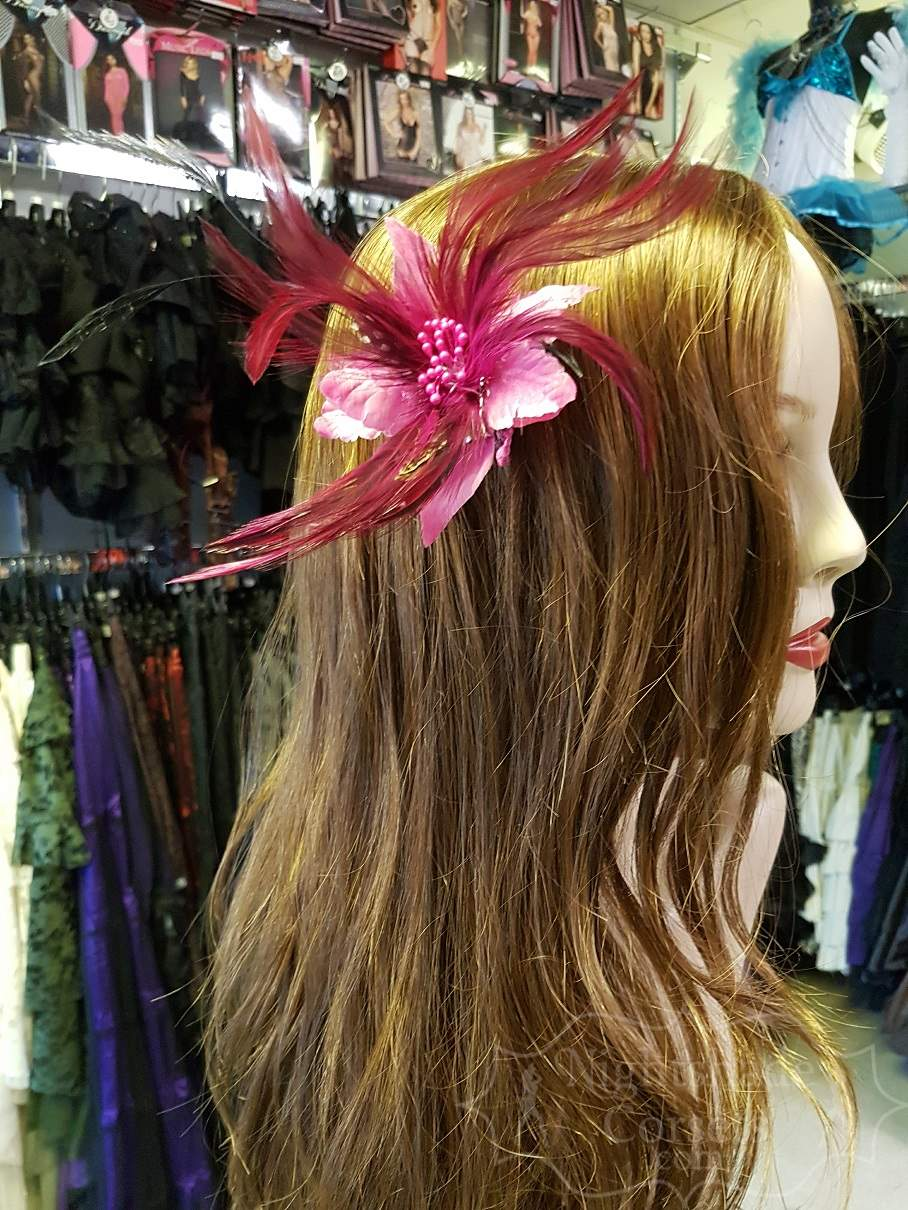 Dark Pink Small feather hair flower 3333 Edmonton