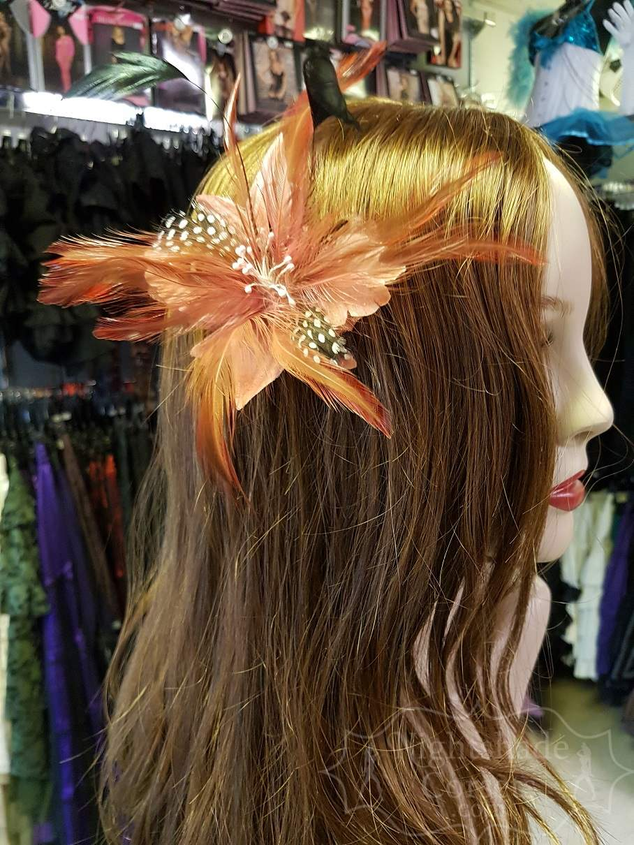 Coral Small feather hair flower 3333 Edmonton