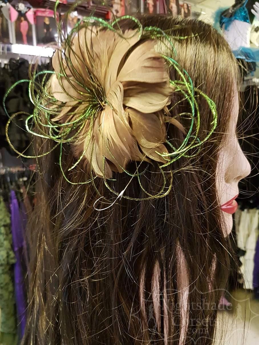Feather hair flower peacock flue centre 5356 Edmonton