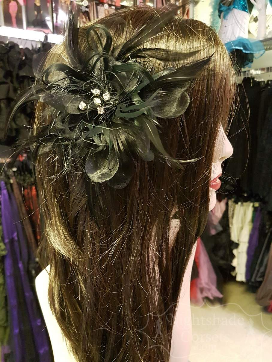 Organza feather hair flower rhinestone centerpiece 16006 Edmonton