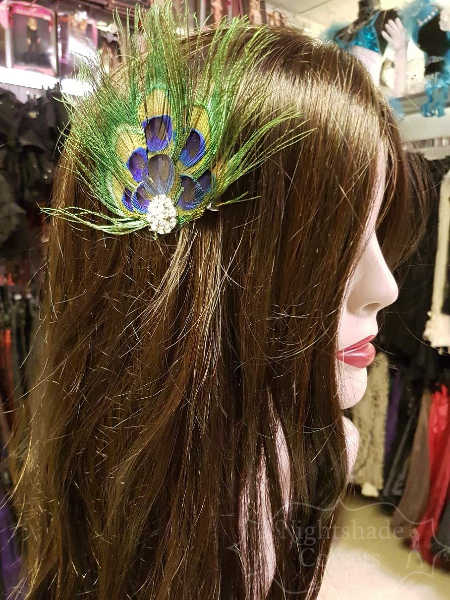1920's inspired peacock feather hairpiece rhinestone center 16013 Edmonton