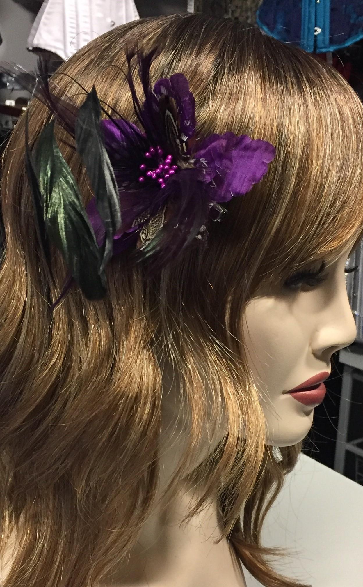 Purple Small feather hair flower 3333 Edmonton