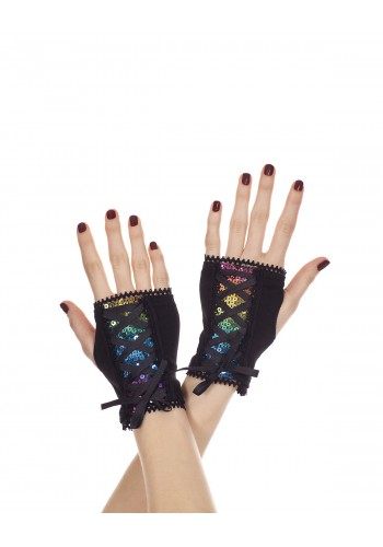 Fingerless Rainbow Sequin Gloves 0482 Edmonton