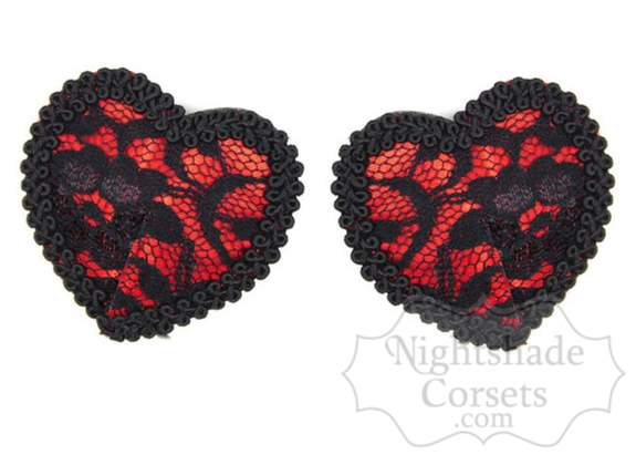 Red Lace Heart Pasties Edmonton