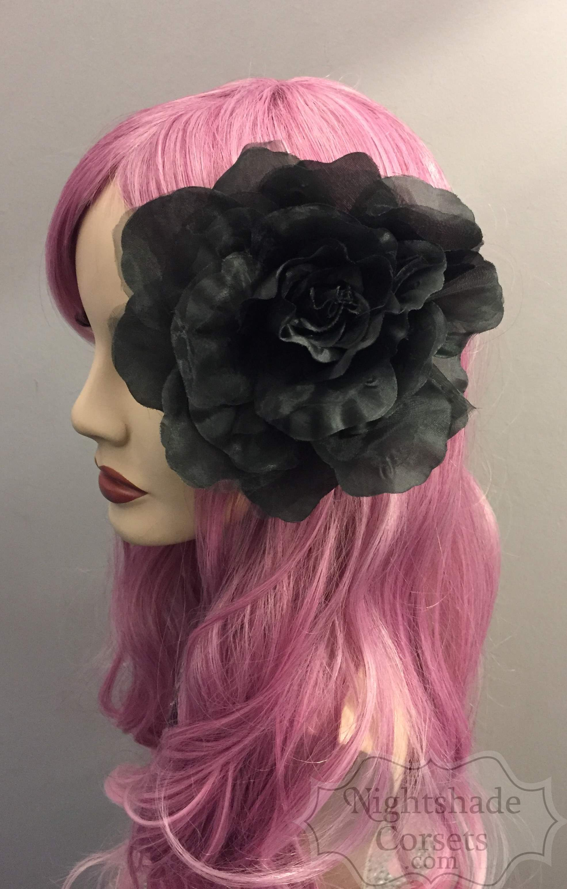 Organza black hair flower 16020 Edmonton