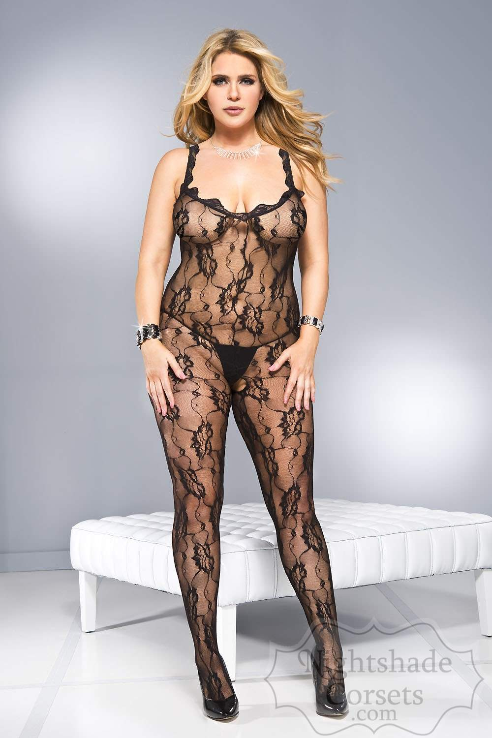 Classic black lace body stocking flattering v-neckline low back 1121 Edmonton