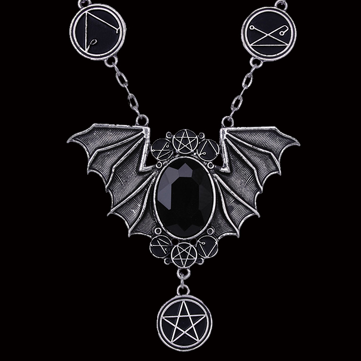Jeweled center batwings pentagrams necklace gothic witchy 4434 Edmonton